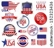 Made in the USA. Set of vector graphic icons and labels - stock vector