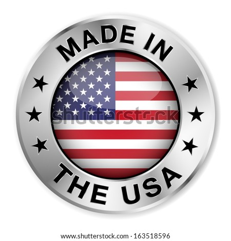 Made in The USA silver badge and icon with central glossy United States Of America flag symbol and stars. Vector EPS10 illustration isolated on white background. - stock vector