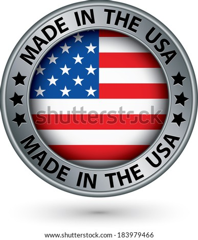 Made in the USA silver label, vector illustration - stock vector