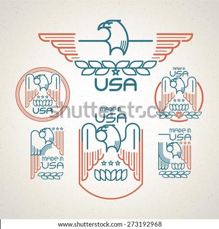 Made Usa Symbol American Flag Eagle Stock Vector Royalty Free