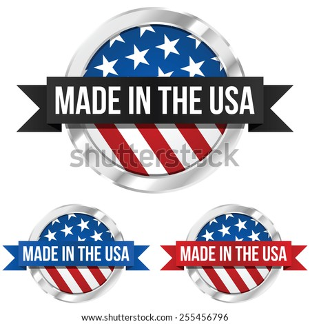 Made in the USA Symbol with Ribbon - stock vector