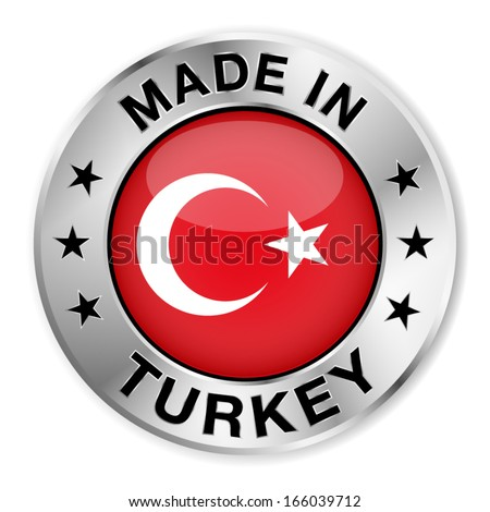 Made in Turkey silver badge and icon with central glossy Turkish flag symbol and stars. Vector EPS10 illustration isolated on white background. - stock vector