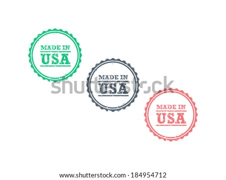 Made in USA american product grunge retro vintage hipster style badge seal sign vector graphic template illustration isolated on white background - stock vector