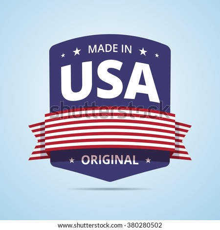 Made in USA badge. USA original product stamp with ribbon and stars. Nation flag of USA colors. Vector illustration in flat style. - stock vector
