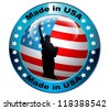 Made in USA flag globe button.Vector - stock photo