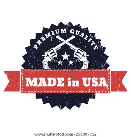 Made in USA grunge sign with crossed revolvers vector illustration, eps10 - stock vector