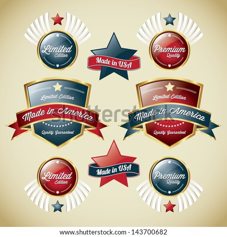 Made In Usa Label Collection - stock vector