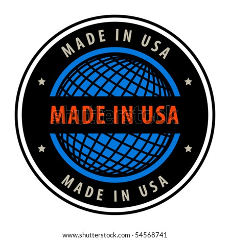 Made in USA label, vector illustration - stock vector