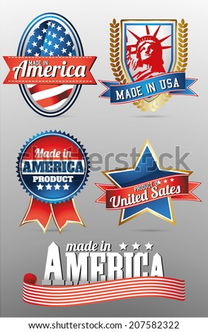 made in usa labels with bold eagle, liberty statue and american flag - stock vector