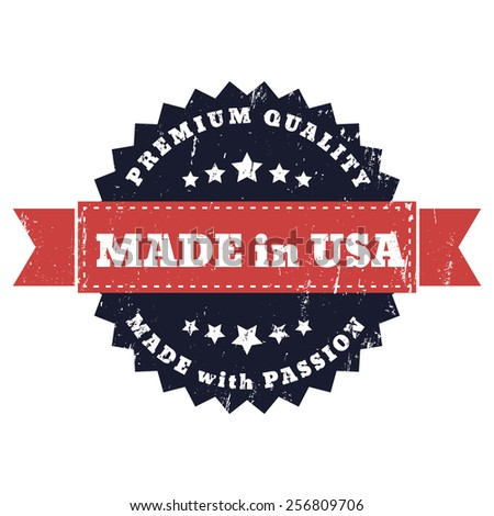 Made in USA, Made with Passion grunge sign vector illustration, eps10 - stock vector
