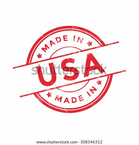 Made in USA red vector graphic. Round rubber stamp isolated on white background. With vintage texture. - stock vector