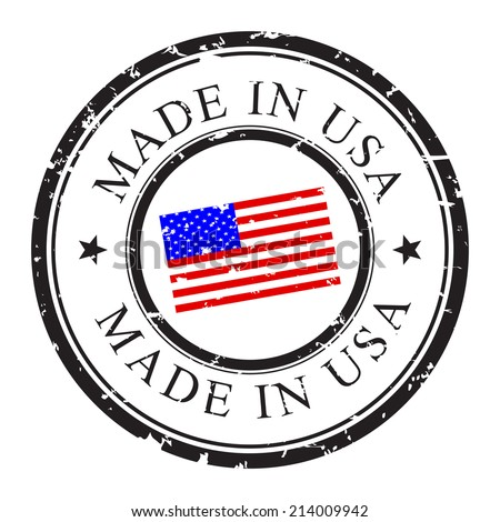 Made in USA, retro grunge stamp with USA flag inside, isolated on white background. Vector stamp illustration. - stock vector