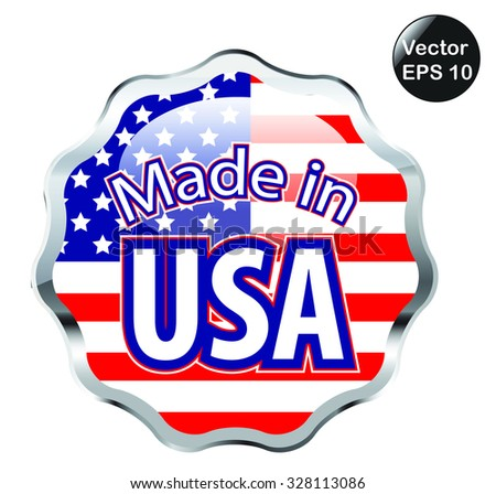 Made in USA silver badge or icon. Vector illustration