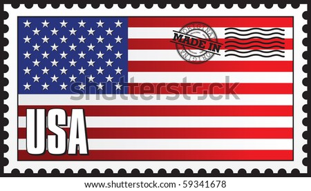 MADE IN USA STAMP VECTOR - stock vector