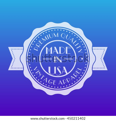 Made in USA, transparent badge, emblem, vector illustration - stock vector