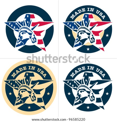 Made in USA. Vector badge, label. Star. - stock vector