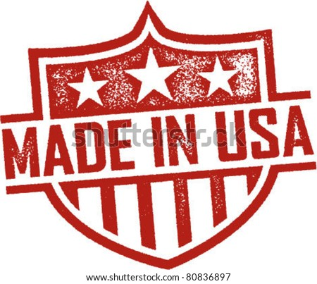 Made in USA Vintage Shield Imprint - stock vector