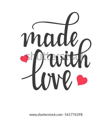 Made Love Hand Lettering Calligraphy Stock Vector ...