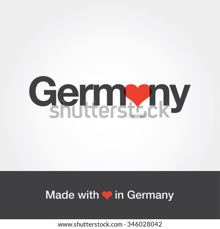 Made with love in Germany. Editable logo vector design.  - stock vector