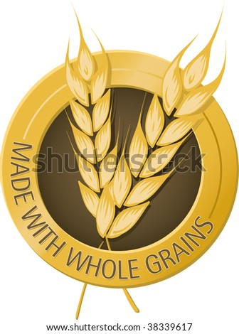 Made with whole grains seal - stock vector