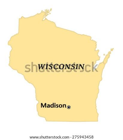 Madison Wisconsin Locate Map Stock Vector 275943458 - Shutterstock