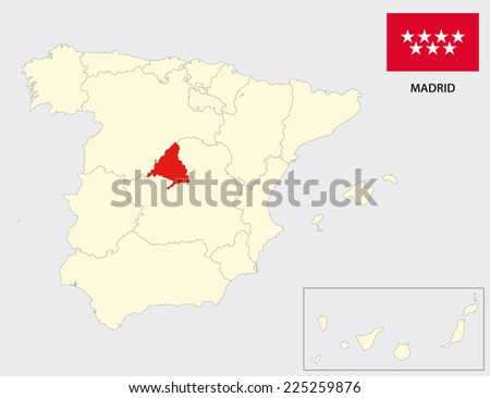 madrid map with flag - stock vector