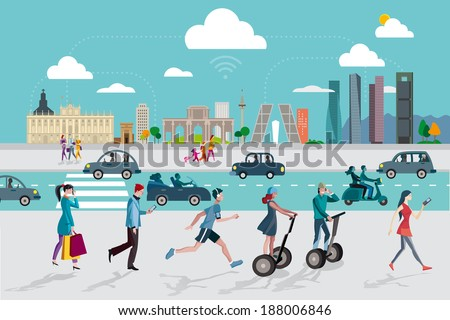 Madrid Skyline with some of the most important and representative buildings of this city. People walking on the street using their smart phones.  - stock vector