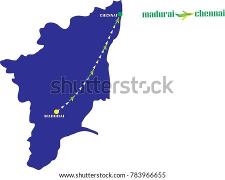 Madurai Chennai Airline On Map Tamil Stock Vector 783966655