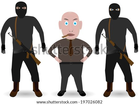 Mafia. Boss and gansters with guns on the white background. - stock vector