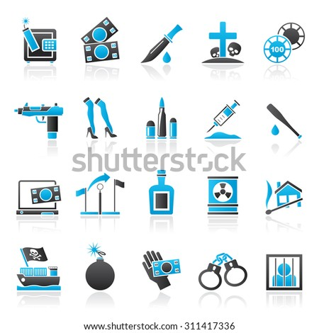 Mafia, Gangster and organized criminality activity icons - vector icon set - stock vector