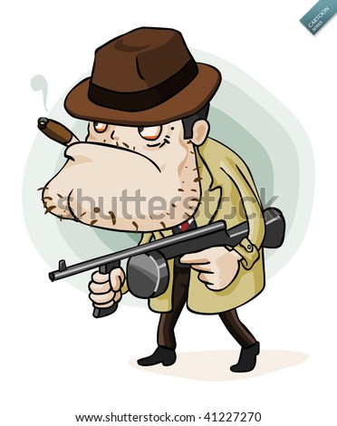 Mafia Gangster with gun. Detailed vector illustration in isolated in white. - stock vector