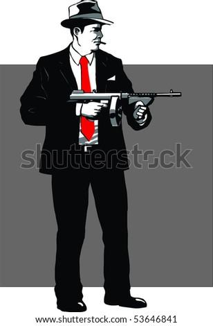 Mafia guy with gun - stock vector