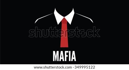 mafia man silhouette crime red tie - stock vector