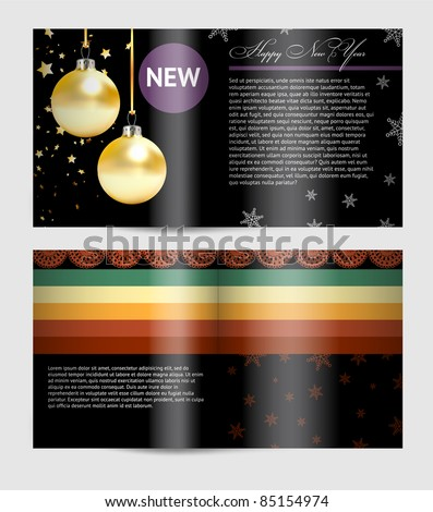 Magazine blank page template for christmas design - stock vector
