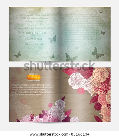 Magazine blank page template with butterfly and flowers - stock vector