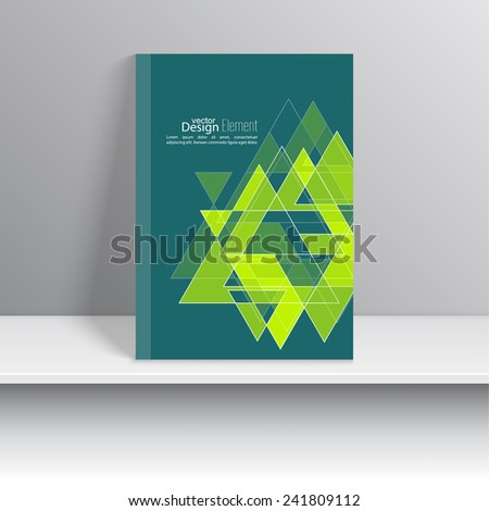Magazine Cover with glossy pyramids, triangles. For book, brochure, flyer, poster, booklet, leaflet, cd cover design, postcard, business card, annual report. vector illustration. abstract background - stock vector