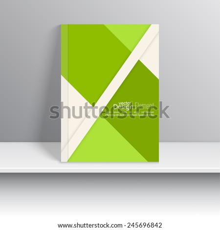 Magazine Cover with pieces colored paper. For book, brochure, flyer, poster, booklet, leaflet, cd cover design, postcard, business card, annual report. vector illustration. abstract background. green - stock vector