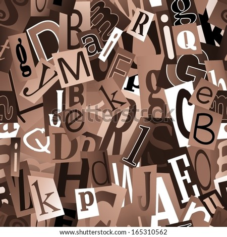Magazine letters collage. Seamless vector pattern.  - stock vector