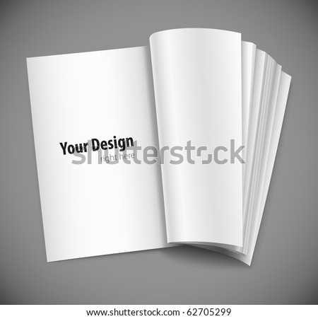 magazine page with design layout vector illustration on gray background - stock vector