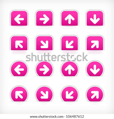 Magenta arrow sign sticker on cut paper pocket. Web button blank satin circles and rounded square shapes with gray drop shadow on white background. This vector illustration design element 10 eps - stock vector