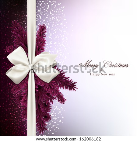 Magenta christmas background with fir twigs and gift bow. Vector illustration. - stock vector