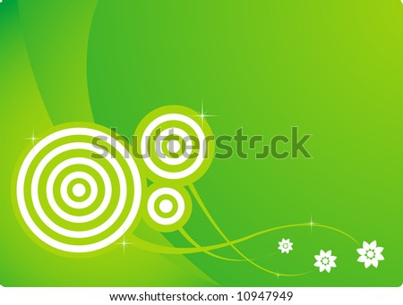 Magic abstract spring background with three flowers - stock vector