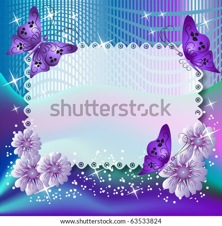 Magic background with butterflies and flowers - stock vector