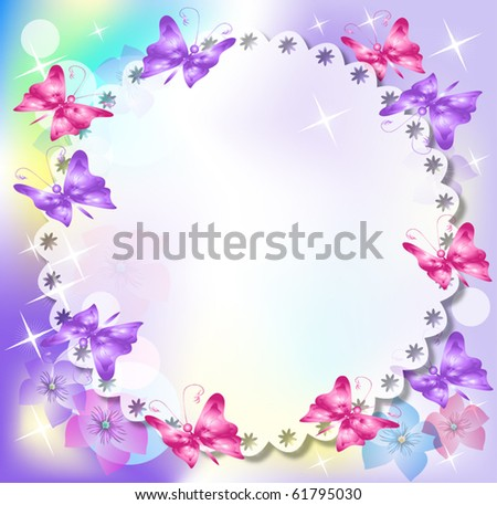 Magic background with  flowers, butterfly and a place for text or photo. - stock vector
