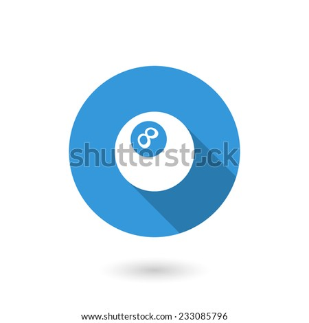 Magic 8 ball icon. Flat design style modern vector illustration. Isolated on white color background. Flat long shadow icon. Elements in flat design - stock vector