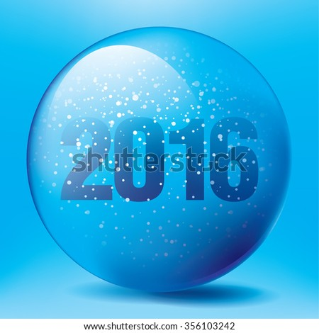 Magic ball with snowflake and 2016, shiny translucent, vector illustration. Christmas snow globe on blue background.  - stock vector