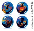 magic balls with symbols of Halloween - stock vector