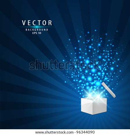 Magic box with sparkling light background, vector background