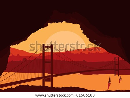 Magic cave view on islamic city landscape - stock vector