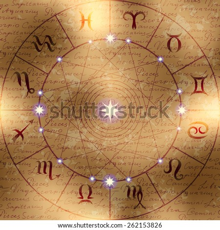 Magic circle of zodiac signs on manuscript background. Manuscript background may be used as seamless pattern. - stock vector
